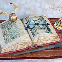 Harry Potter Book Of Potions  9x13 cake carved to resemble a book. Covered in fondant. Edible image used for the book pages (smaller than I'd originally wanted them...