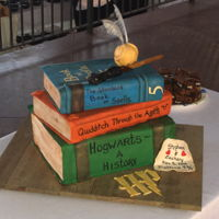 Harry Potter Cake Stack of books with Harry Potter titles. Golden snitch and Harry's wand on top.