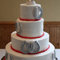 Horseshoe Wedding Cake Bride and Groom wanted a western theme cake with horseshoes
