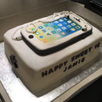 Iphone 6 Cake  iPhone 6 - Sweet 16 birthday cake. Dark chocolate with vanilla buttercream and chocolate chips filling - covered in fondant. IPhone and...