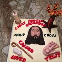Jesus As Center Cake made to represent 4 different retreat themes with Jesus in the center. Themes - we are the light, grounded in Christ, Trust, He is the...