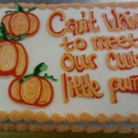 Little Pumpkin 1/2 sheet White and Chocolate cakebuttercream icinghand drawn decoration