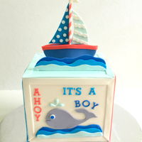 Nautical Whale And Sailboat Baby Shower Cake Customer shared this picture and wanted it replicated...Soooo Cute!