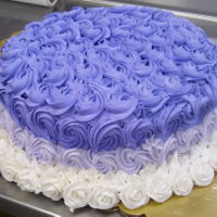 Ombre Rosette Cake This is my first ever attempt at an ombre rosette cake. This cake was layered with a colossal cookie on the bottom, 12in cake, then another...