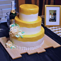 Painted Gold With Peonies Cake for an engagement party.