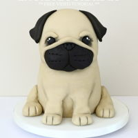 "Parker The Pug  Meet Parker the Pug! You can find a step-by-step video tutorial on how to make this cake on my YouTube Channel - ""Laura Loukaides&quot..."