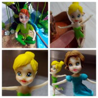 Peter Pan Of Neverland , Wendy Darling, Tinker Bell Fondante Cake Toppers Peter Pan of Neverland , Wendy Darling, Tinker Bell fondante cake toppers