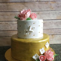 Pink And Gold Bridal Shower Cake White cake with lemon curd and vanilla bean french buttercream, and white cake with raspberry rosewater french buttercream. Fondant outside...