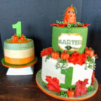 Pumpkins And Fall!!!   Pumpkin and fall leaves... 1st Birthday cake and smash cake. Smash cake is buttercream...