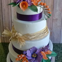 Purple And Orange Wedding Cake Tiers are red velvet with raspberry swiss meringue buttercream, pumpkin cake with dark chocolate ganache, chocolate cake with salted...