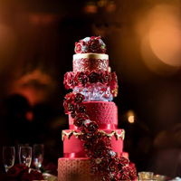 Red And Gold Wedding Cake Red and gold wedding cake by Liz Huber Cakery Creation