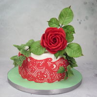 Red Rose & Lace Cake Mbalaska 10-20-2016 sugar rose, cake lace, devils food cake, American meringue buttercream icing.