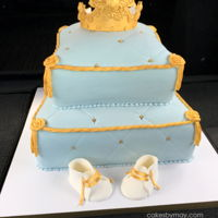 Royal Pillow Baby Shower Cake Fit for a prince. Love the subtle blue with the gold accents.