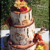 Rustic Birch Log Wedding Cake   Rustic birch log fall wedding cake