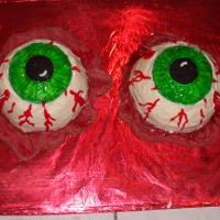 Scary Eyeballs   Yellow Cake with butter cream frosting. White chocolate for the blood