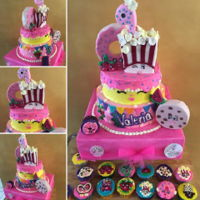 Shopkins Cake And Cupcakes 2 LEVELS 8` VANILLA OREO CAKE10¨ VANILLA-NUTELLA CAKEbuttercream and fondant.vanilla multicolor cupcakes buttercream frosting