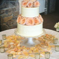 Smooth Buttercream With Roses Separated tiers with fresh florals
