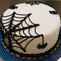 Spider Web Double Layer Chocolate CakeButtercream IcingBlack hand piped decoration