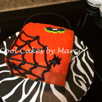 Spider Web Cake Used a 6x6 cake to make a cute little cake with a Spider Web on it. It is made with butter cream frosting and some already made sugar...