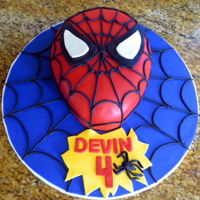 Spiderman   Chocolate cake covered in fondant