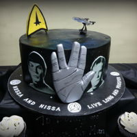 "Star Trek Galaxy 12"" cake, 3 layers of French Vanilla cake and raspberry filling and buttercream icing. The airbrushing colors I chose to use of red,..."