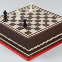 The Queen Vs Rook Endgame. Chessboard cake.