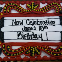 Theater Marquee 1/2 sheet chocolate/white cakeRed, Yellow, Black buttercream icingPlastic music notesCustomer special order