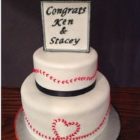 Wedding Cake Baseball themed wedding cake. Couple was married at AT&T baseball park in San Francisco.