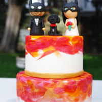 Wedding Cake Fondant wedding cake with a little touch of colour. Batman, Batbride and her dog on top