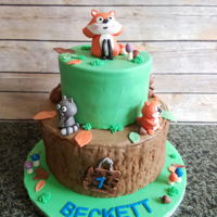 Woodland Animals Cake Tiers are chocolate cake and strawberry cake. Fondant outside with fondant animals and other decorations.