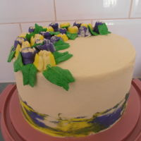 Yellow And Purple Flowers Trying out my Russian piping tips