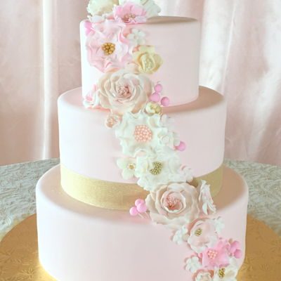 Blush Color Cake With Vintage Flare