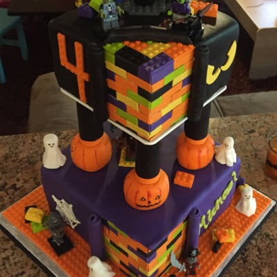 Building Blocks - Halloween Themed Birthday Cake