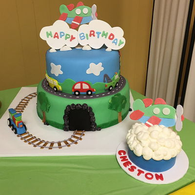 Cars Planes And Trains Birthday Smash Cake