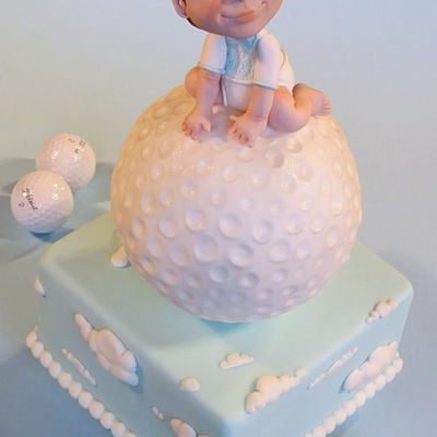 Golf Themed Christening Cake