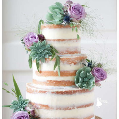 Naked Cake With Sugar Succulents