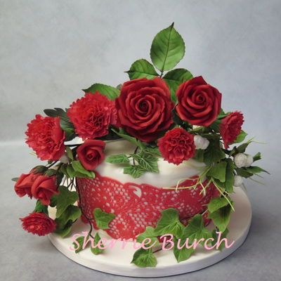Red Roses, Carnations, Lace Cake Mbalaska