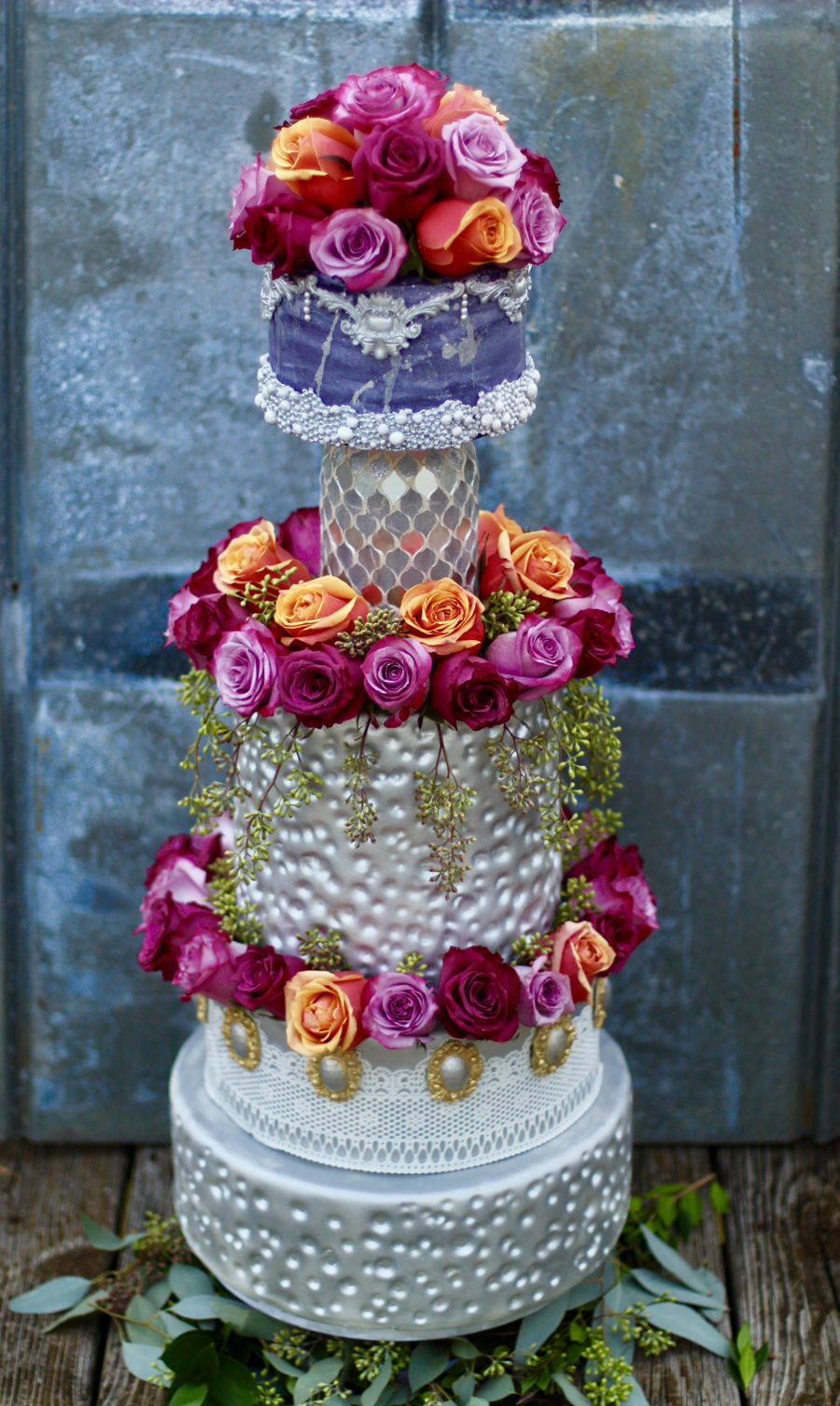 3 Feet Tall Silver Wedding Cake on Cake Central
