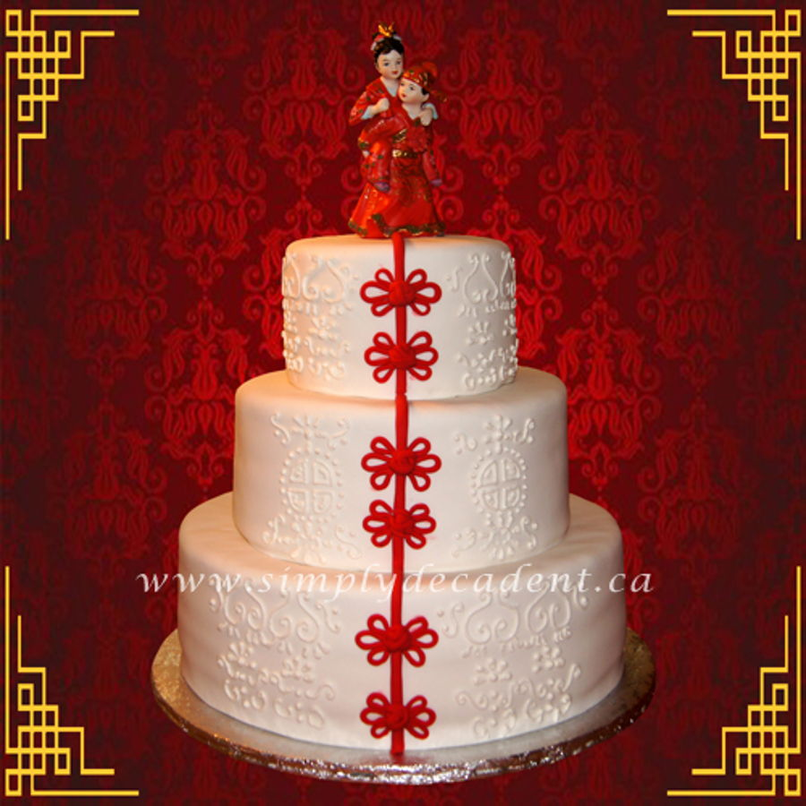 3 Tier Fondant Traditional Chinese Wedding Cake
