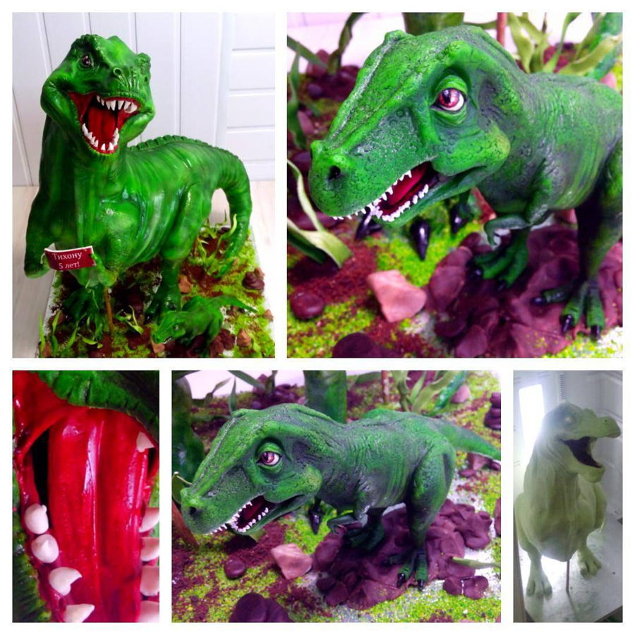 3D Dinosaur Rex Cake And Little Dinosaur Rex Topper on Cake Central