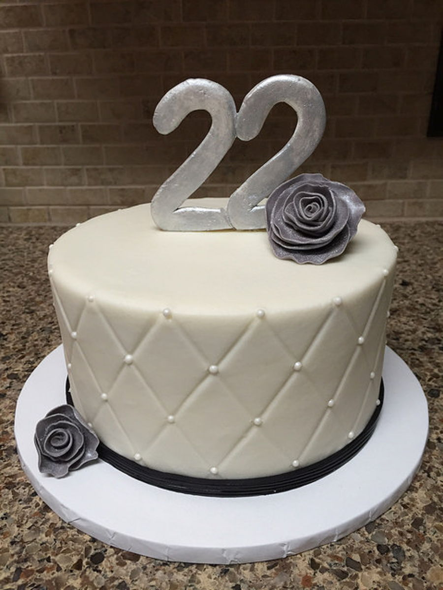 Black And White 22Nd Birthday Cake On Central