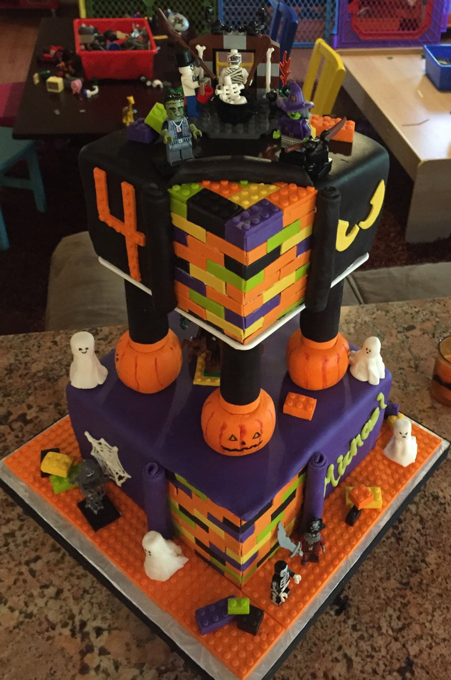 Building Blocks Halloween Themed Birthday Cake