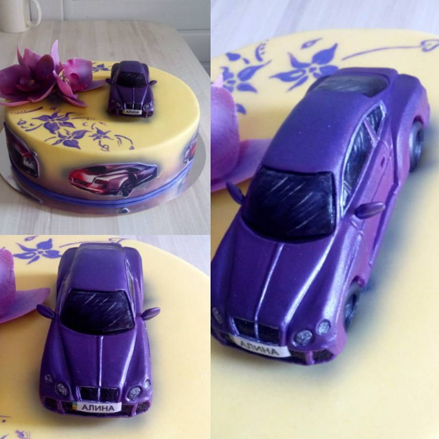 Cake For Woman With Car Bentley Violet And Orchid on Cake Central