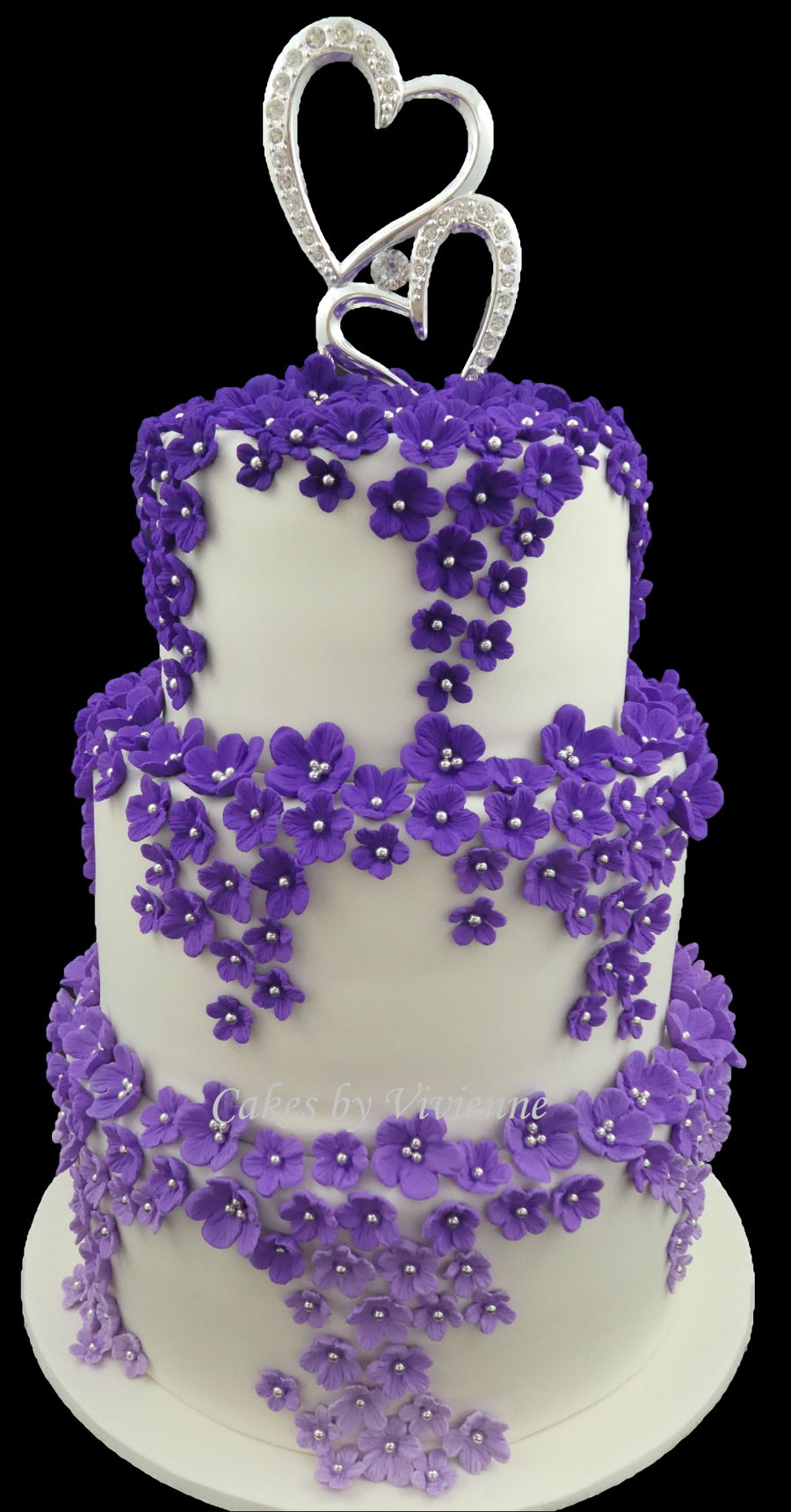 ombre wedding cake purple cascading purple ombre blossom wedding cake cakecentral 18009