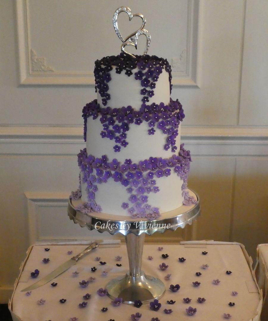 Cascading Purple Ombre Blossom Wedding Cake Cakecentral Com
