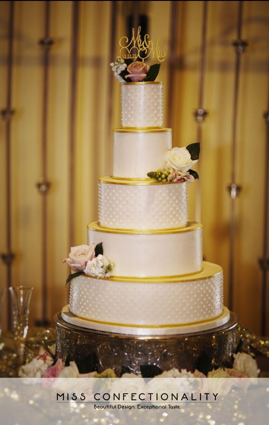 Gold Trim Wedding Cake - CakeCentral.com