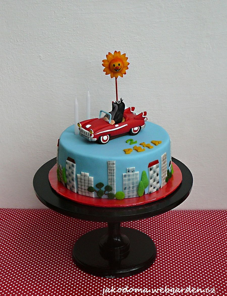 Little Mole And His Little Car on Cake Central