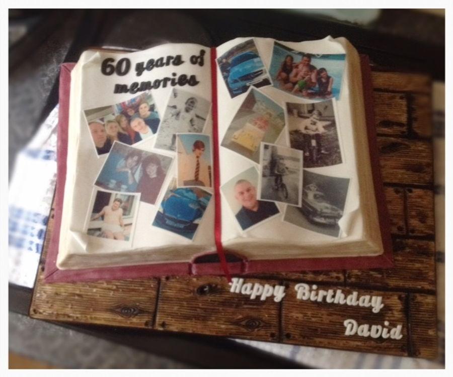 Photo Album Cake: Photo Album/ Scrap Book Cake For 60Th Birthday