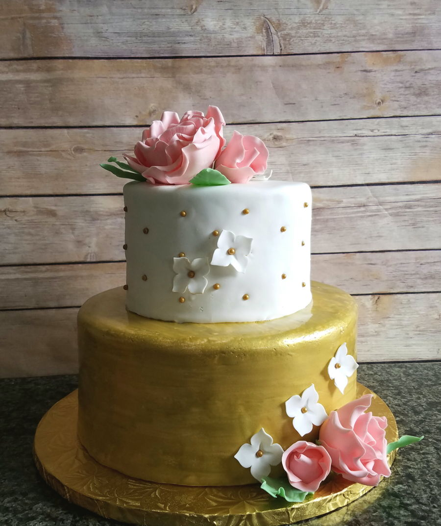 Baby Shower Pink And Gold Cake