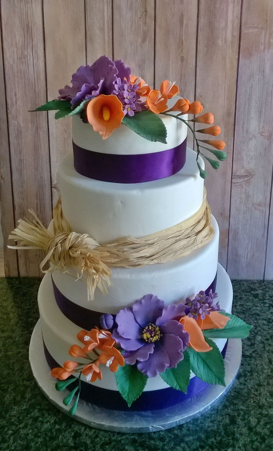 purple and orange wedding cake ideas purple and orange wedding cake cakecentral 18864